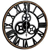 vidaXL Sieninis laikrodis, juodos spalvos, 60cm, MDF