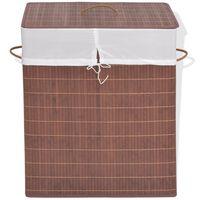 vidaXL Skalbinių krepšys, rudas, bambukas, stačiakampis