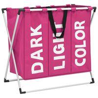 vidaXL 3 skyrių skalbinių rūšiavimo krepšys, rožinis