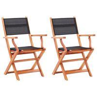 vidaXL Sodo kėdės, 2vnt., juodos, eukalipto masyvas ir tekstilenas
