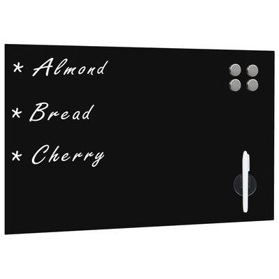 vidaXL Prie sienos montuojama magnetinė lenta, stiklinė, juoda,60x40cm