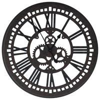 vidaXL Sieninis laikrodis, juodos spalvos, 70 cm, MDF