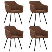 vidaXL Valgomojo kėdės, 4vnt., rudos spalvos, audinys (2x247068)