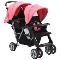 vidaXL Vaikiškas dvivietis vežimėlis, rožinis/juodas, plienas