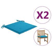 vidaXL Sodo kėdės pagalvėlės, 2vnt., mėlynos spalvos, 50x50x4 cm