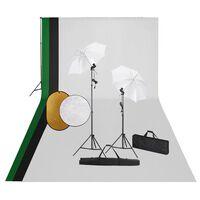 vidaXL Studijos komplektas su šviestuvais, fonu ir reflektoriumi