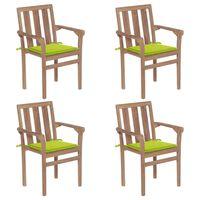 vidaXL Sukraunamos sodo kėdės su pagalvėlėmis, 4vnt., tikmedis