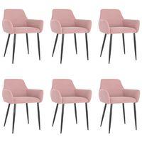 vidaXL Valgomojo kėdės, 6vnt., rožinės spalvos, aksomas (3x323108)