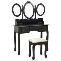 vidaXL Kosmetinis staliukas su kėdute ir 3 veidrodžiais, juodas