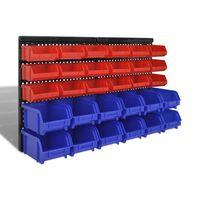 Sieninis Garažo Stelažas su 30 Plastmasinių Dėžių, Mėlynų ir Raudonų