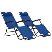 vidaXL Sulankstomi saulės gultai, 2 vnt., su pakoja, plienas, mėlyni