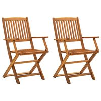 vidaXL Sulankstomos lauko kėdės, 2vnt., akacijos medienos masyvas