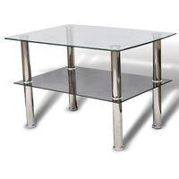 vidaXL Kavos staliukas, stiklinis, 2 aukštų