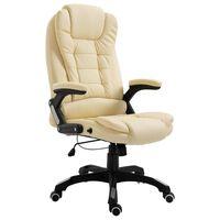 vidaXL Biuro kėdė, kreminės spalvos, dirbtinė oda