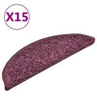 vidaXL Laiptų kilimėliai, 15vnt., tamsiai violetiniai, 56x17x3cm