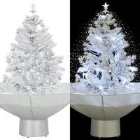 vidaXL Kalėdų eglutė su sniego fun. ir skėč. form. pagr., balta, 75cm