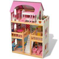 vidaXL Lėlių namelis, 3 aukštų, medinis, 60x30x90 cm