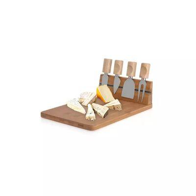 Excellent Houseware Sūrio peilių stovas su bambukine pjaustymo lentele