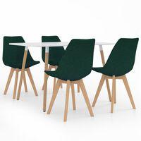 vidaXL Valgomojo baldų komplektas, 5 dalių, žalias (287242+324172)