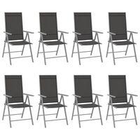 vidaXL Sulankstomos sodo kėdės, 8vnt., juodos spalvos, tekstilenas
