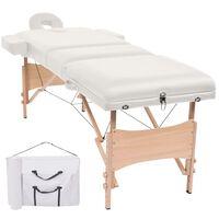 vidaXL 3 zonų sulankstomas masažinis stalas, 10 cm storio, baltas