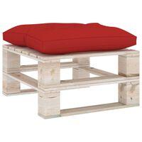 vidaXL Sodo otomanė iš paletės su raudona pagalvėle, pušies mediena