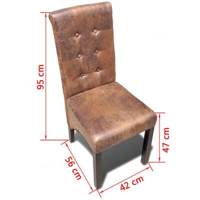 vidaXL Valgomojo kėdės, 4 vnt., rudos, dirbtinė oda