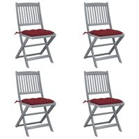 vidaXL Folding Outdoor Chairs 4 pcs with Cushions Solid Acacia Wood (46336+314888)