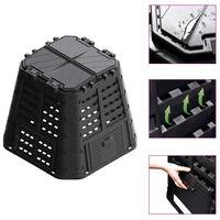 vidaXL Sodo komposto dėžė, juoda, 93,3x93,3x80cm, 480 l
