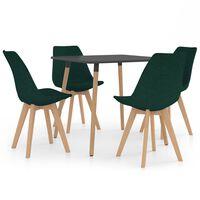 vidaXL Valgomojo baldų komplektas, 5 dalių, žalias (287240+324172)