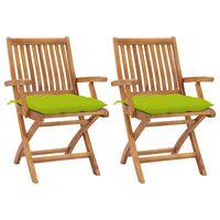 vidaXL Sodo kėdės su šviesiai žaliomis pagalvėlėmis, 2vnt., tikmedis