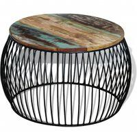 vidaXL Kavos staliukas, apvalus, perdirbtos medienos masyvas, 68x43 cm