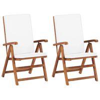 vidaXL Atlošiamos sodo kėdės su pagalvėmis, 2vnt., kreminės, tikmedis