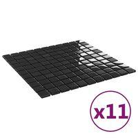 vidaXL Mozaikinės plytelės, 11vnt., juodos, 30x30cm, stiklas, blizgios