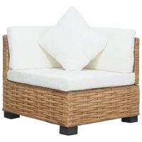 vidaXL Kampinė sofa su pagalvėlėmis, natūralus ratanas