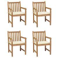 vidaXL Sodo kėdės su kreminėmis pagalvėlėmis, 4vnt., tikmedžio masyvas