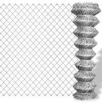 vidaXL Tinklinė tvora, sidabro sp., 25x1m, cinkuotas plienas
