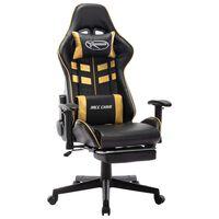 vidaXL Žaidimų kėdė su pakoja, juoda ir auksinė, dirbtinė oda