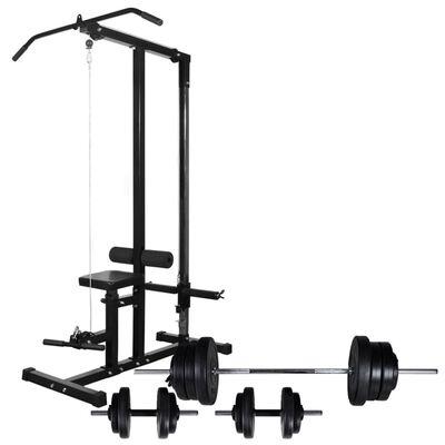 vidaXL Jėgos treniruoklis su štangos ir svarmenų rinkiniu, 60,5kg