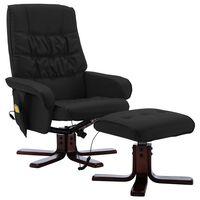 vidaXL Atlošiamas masažinis krėslas su pakoja, juodas, dirbtinė oda