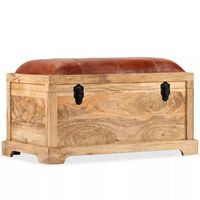 vidaXL Suolas-daiktadėžė, tikra oda, masyvi mango mediena, 80x44x44cm