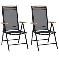 vidaXL Sulankstomos sodo kėdės, 2 vnt., aliuminis ir tekstil., juodos