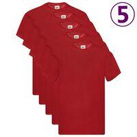 Fruit of the Loom Originalūs marškinėliai, 5vnt., raudoni, medvilnė, L