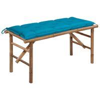 vidaXL Sulankstomas sodo suoliukas su pagalvėle, 118cm, bambukas