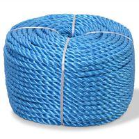 vidaXL Susukta virvė, mėlyna, 250m, polipropilenas, 12mm