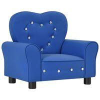 vidaXL Vaikiška sofa, mėlyna, dirbtinė oda