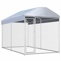 vidaXL Lauko voljeras šunims su tentu stogui, 382x192x225cm