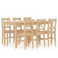 vidaXL Valgomojo baldų komplektas, 7 dalių, pušies mediena