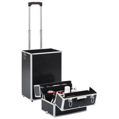 vidaXL Kosmetikos lagaminas, juodas, aliuminis, su krokodilo raštu