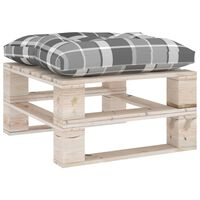 vidaXL Garden Pallet Ottoman with Grey Check Pattern Cushion Pinewood (315824+314635)